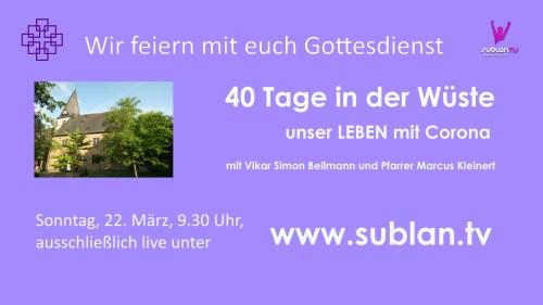 Einladung zum Sublan-Gottesdienst am 22.3.2020