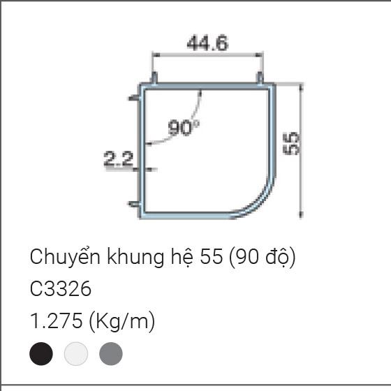 Chuyển khung hệ 55 (90 độ)