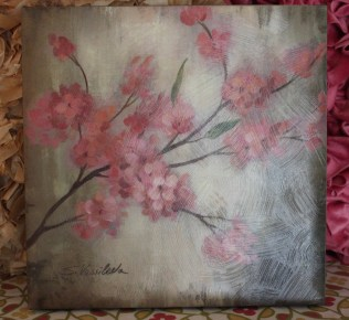 """12""""x12"""" Canvas Wall Art $49.00 Cheery cherry blossoms bring softness and color to the walls."""