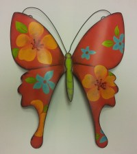 """13""""High Red Metal Wall Butterfly"""