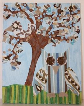 """Vivian Blue"" 14""x11"" Canvas Owl Custom Art $139.00 Multi-texture, handmade art Frame ready print also available $19.50"