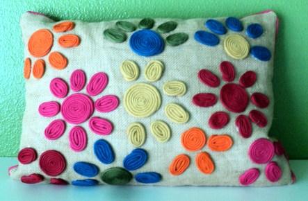"""13""""x18"""" Burlap Flower Power Pillow $59.00"""