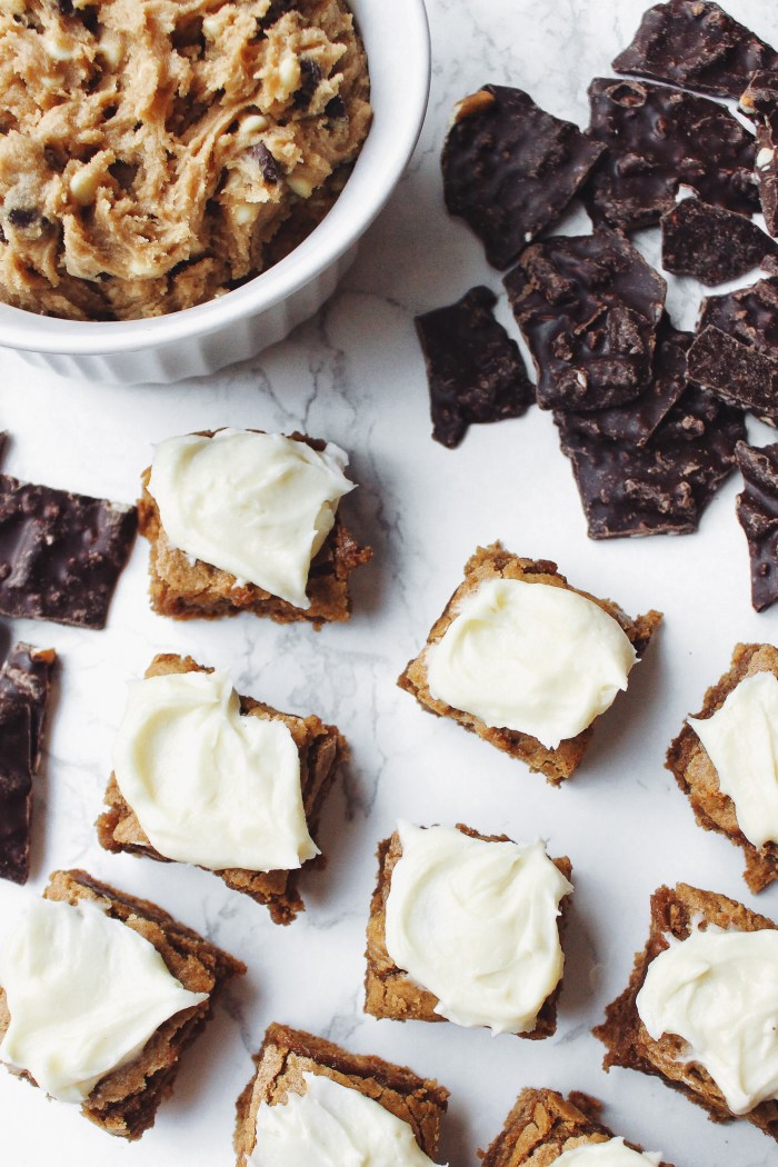 2 Easy Holiday Desserts: Gingerbread Batter Blondies with Cream Cheese Frosting and Cookie Dough Dip