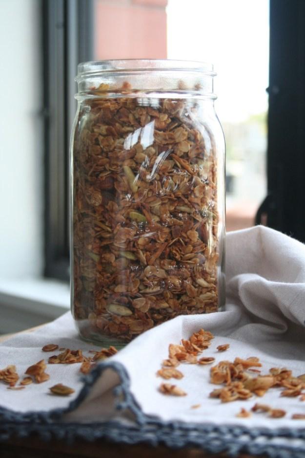 granola in a glass ball jar