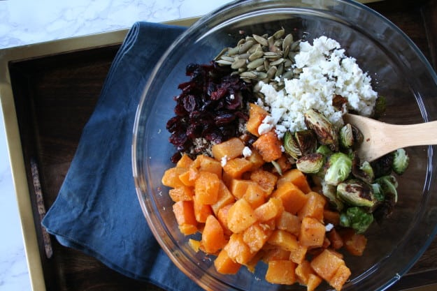 all the ingredients for butternut squash and quinoa salad