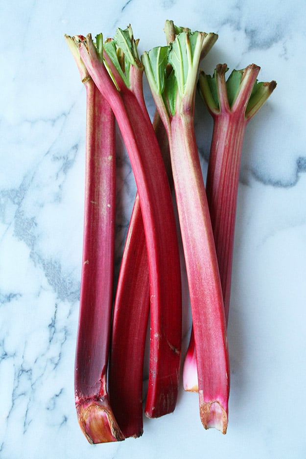 an overhead shot of raw rhubarb from the farmers market for rhubarb ginger muffins