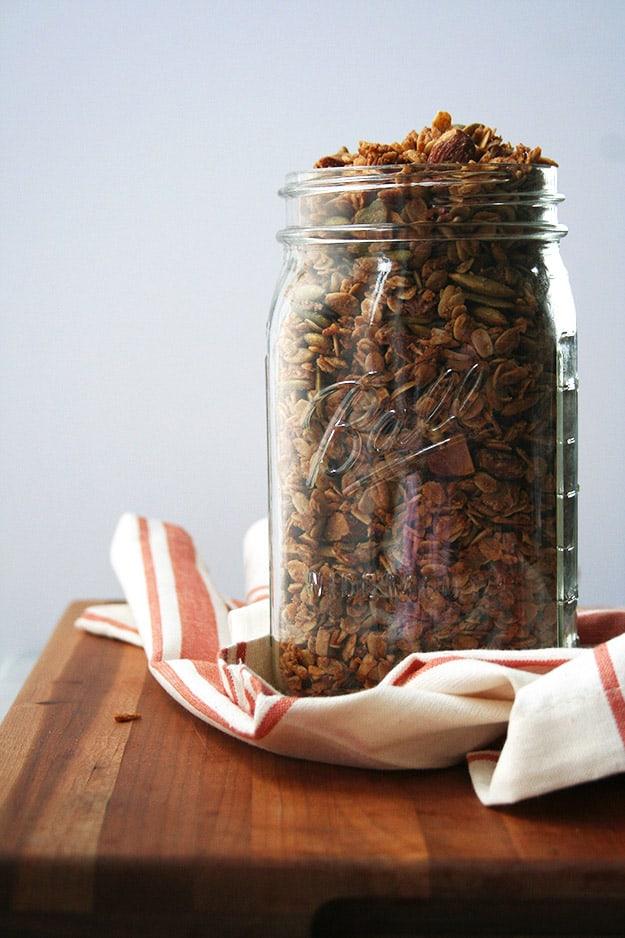 maple tahini granola right