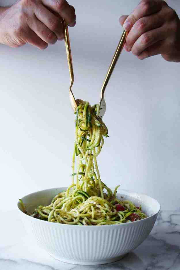 Caprese Zoodle Salad - fresh, simple, and perfect for your summer BBQ. | Hungry by Nature