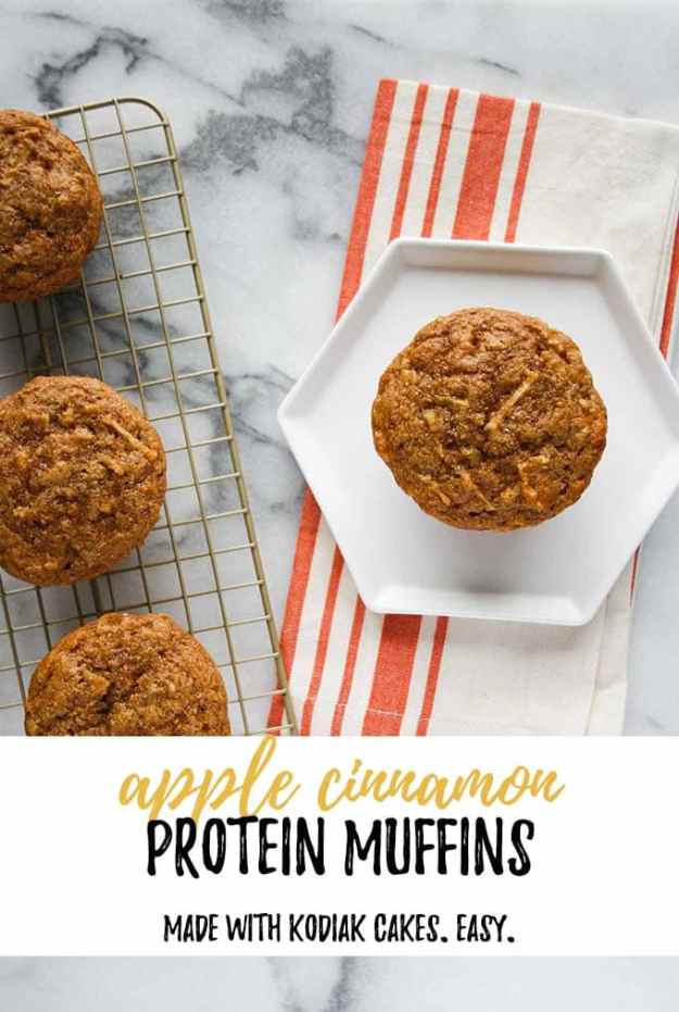 apple cinnamon protein muffins on a plate with text overlay