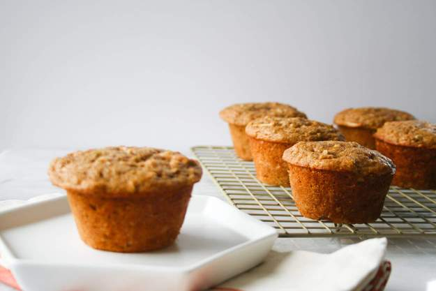 apple cinnamon protein muffins side far