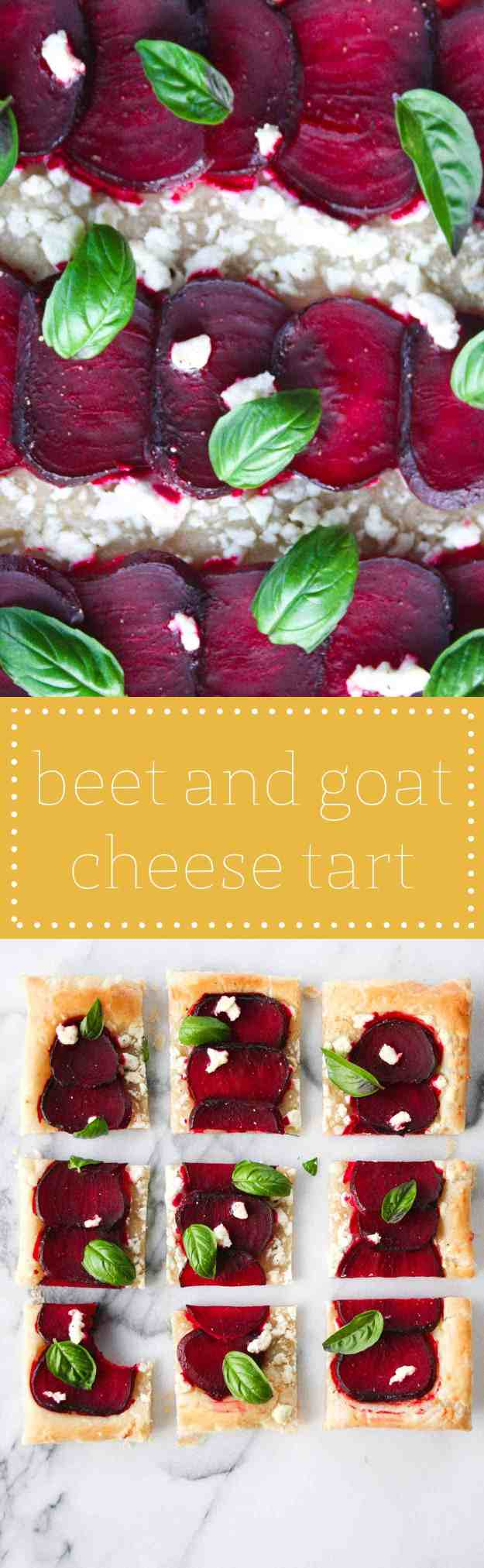 5 Ingredient Beet and Goat Cheese Tart | hungrybynature.com