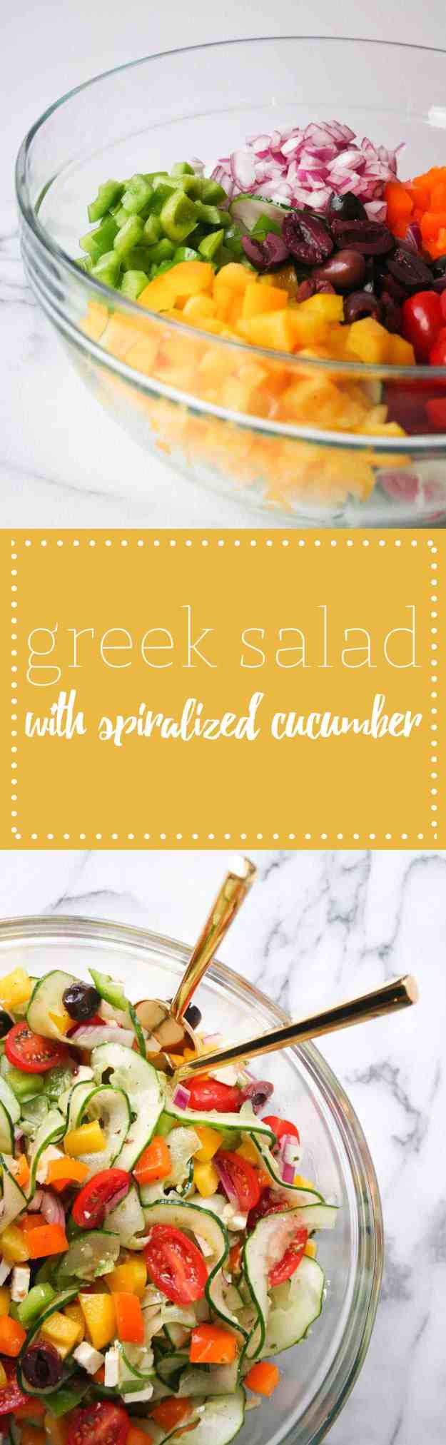 Simple Veggie Packed Greek Salad with Spiralized Cucumber | Hungry by Nature