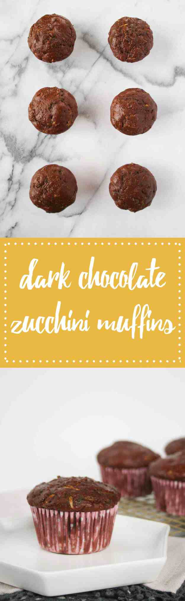 Dark Chocolate Zucchini Muffins made with Greek yogurt and a favorite summer ingredients! | hungrybynature.com