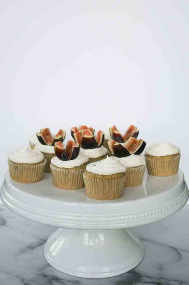 Happy Birthday to me - Olive Oil Cupcakes with Honey Buttercream and Fresh Figs! | hungrybynature.com
