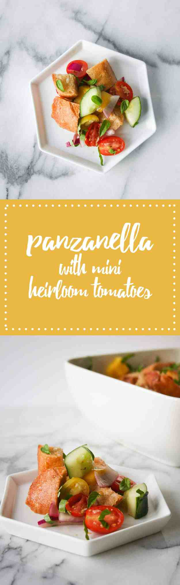 Panzanella with Mini Heirloom Tomatoes - makes this before the summer is over! | hungrybynature.com