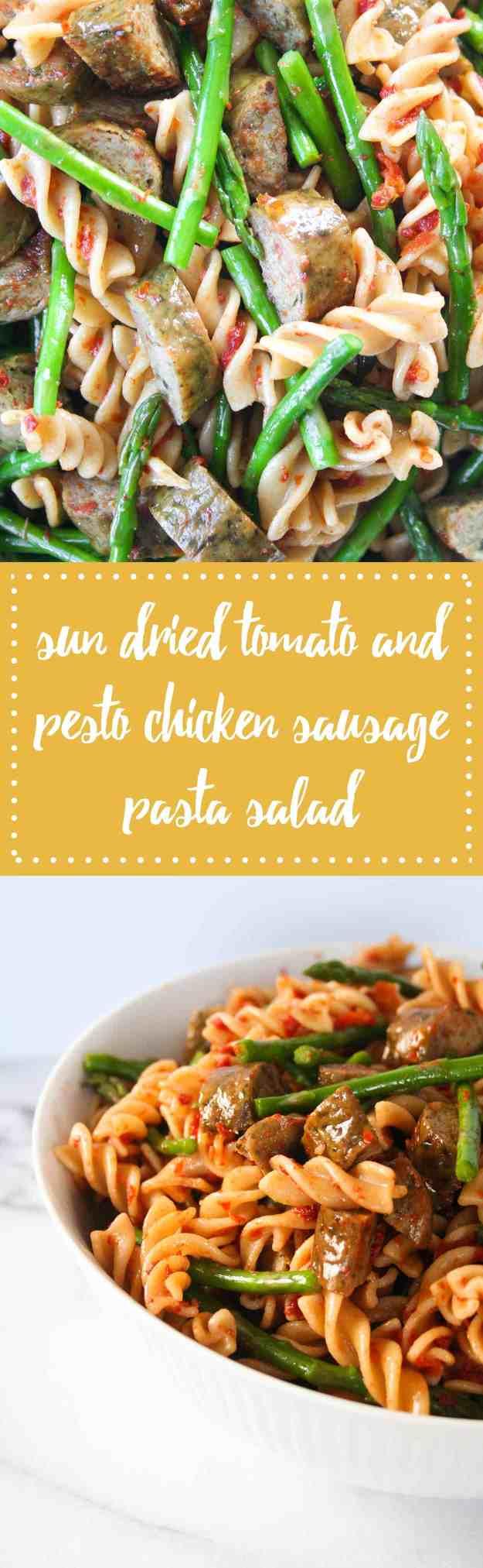 Sun Dried Tomato and Pesto Chicken Sausage Pasta Salad   Hungry by Nature