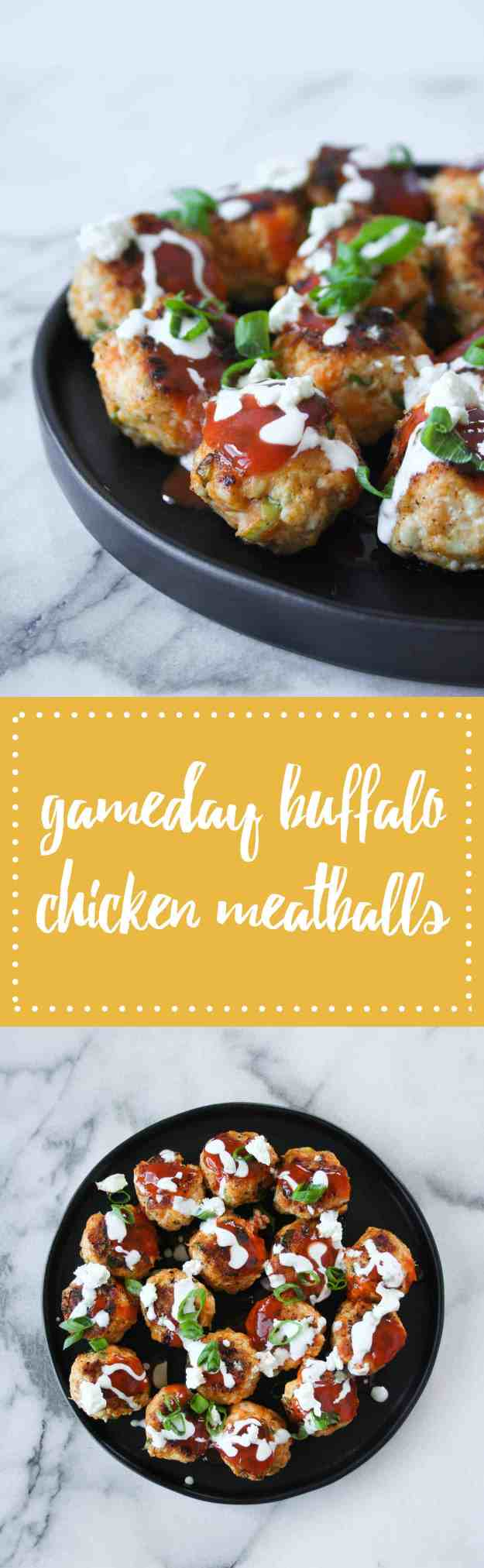 The ideal football gameday appetizer - buffalo chicken meatballs. You only need 6 ingredients and 30 minutes. Touchdown! | Hungry by Nature
