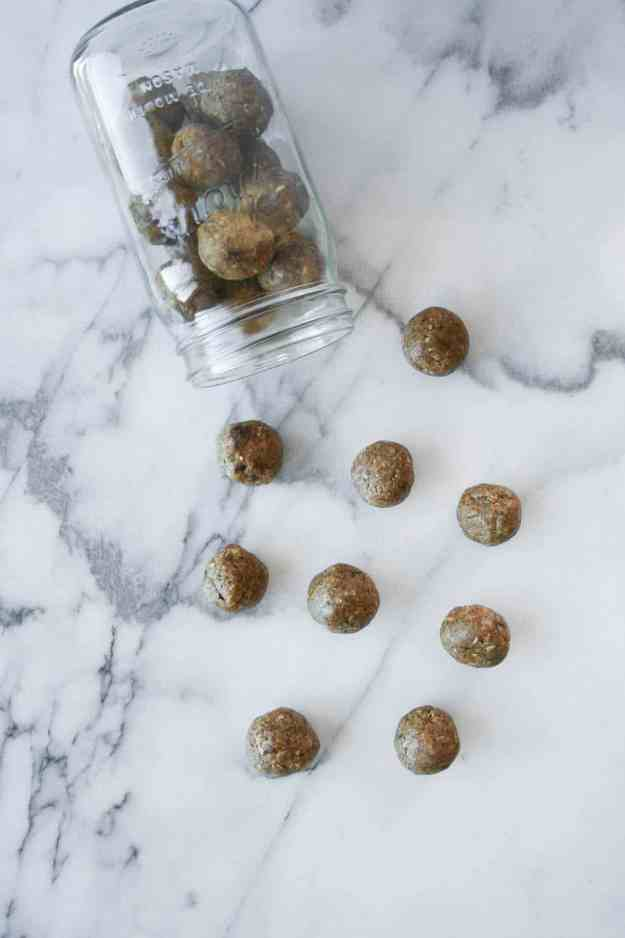 A favorite pre-workout protein and energy boost - Peanut Butter Protein Bliss Bites. These only require 6 ingredients, are easy to make, and can double as a healthy dessert!