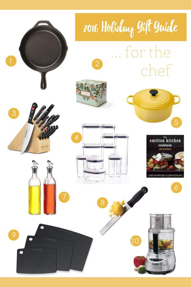 My chef gift guide is here - find everything you need for the chef including a cast iron skillet, dutch oven, and zester!