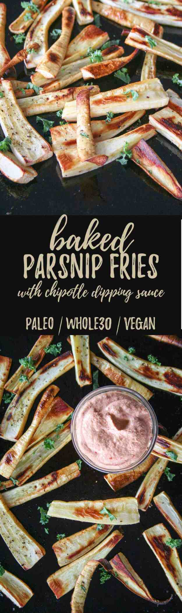 Baked Parsnip Fries with Chipotle Dipping Sauce   Paleo, Whole30, Vegan, easy, healthy, quick, recipe, crispy, gluten free   hungrybynature.com