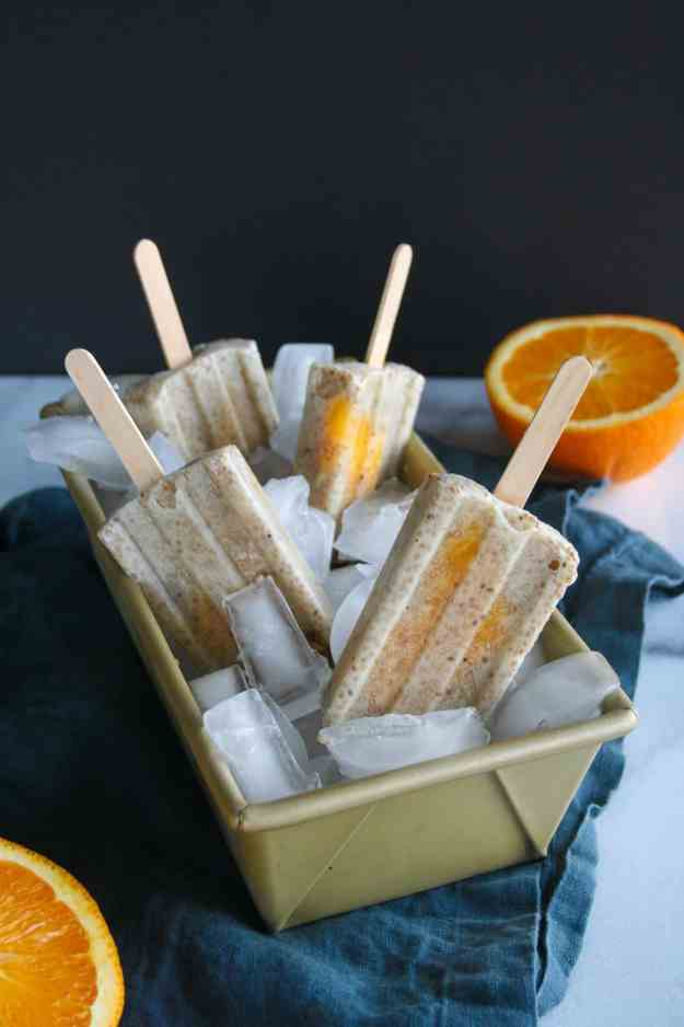 Orange Creamsicle Chia Pudding Popsicles | paleo granola, gluten free, dairy free, coconut, So Delicious, Kitchen IQ, healthy, recipe, coconut milk, coconut yogurt, dessert | hungrybynature.com