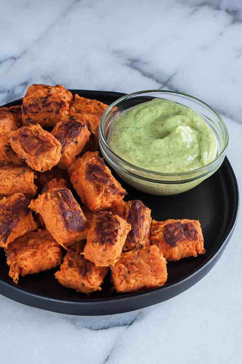 Sweet Potato Tater Tots & Avocado Green Goddess Dipping Sauce