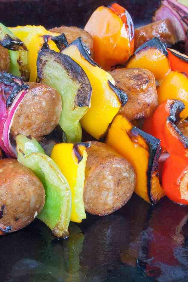 Bilinski's Chicken Sausage Skewers | grill, easy, healthy, organic, gluten free, paleo, marinade, lemon, barbecue, pineapple | hungrybynature.com