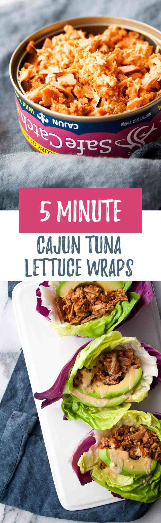 5-Minute Cajun Tuna Lettuce Wraps | ad, Safe Catch, canned tuna, easy, healthy, to-go, spicy, lettuce, cabbage | hungrybynature.com