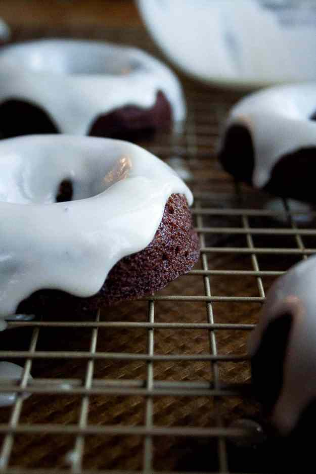 Triple Coconut Chocolate Donuts | paleo, gluten free, baked, recipe, easy, healthy, Halloween, frosting, glaze | hungrybynature.com