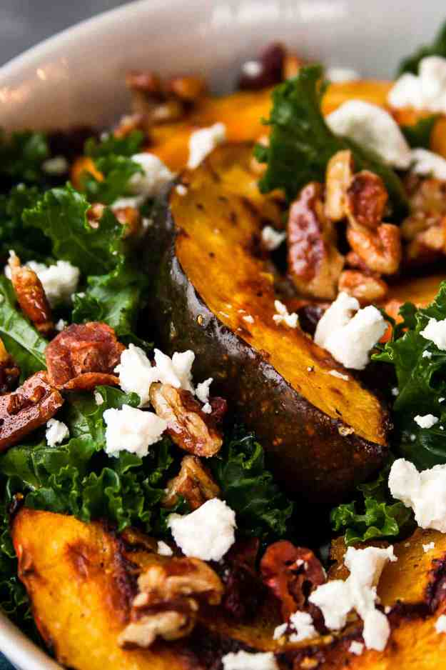 Kale Salad with Acorn Squash, Goat Cheese, and Candied Pecans | #paleo #salad #thanksgiving #sidedish #squashsalad | hungrybynature.com