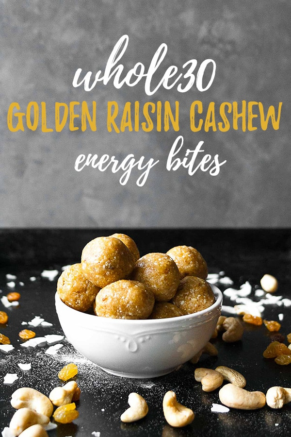 Whole30 Golden Raisin Cashew Energy Bites | #ad #axecollagen #whole30 #januarywhole30 #whole30approved #cashew #goldenraisin #energybite #proteinball #vanilla #nobake