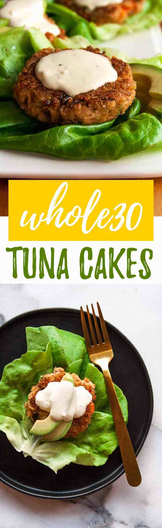 Whole30 Tuna Cakes with Lemon-Garlic Aioli | #whole30 #easy #recipe #healthy #lowcarb #paleo #glutenfree | hungrybynature.com