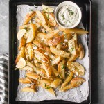 Baked Greek Fries with Dairy Free Tzatziki | #fries #recipe #easy #lemon #dairyfree #paleo #glutenfree | www.hungrybynature.com