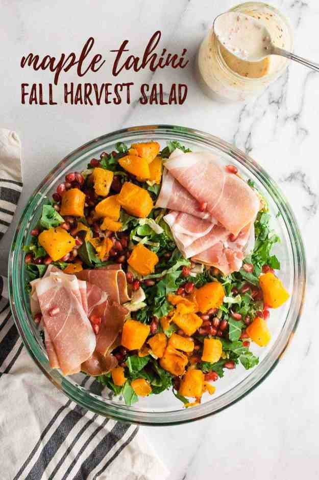 Maple Tahini Fall Harvest Salad | #recipe #butternutsquash #brusselssprouts #kale #pomegranate #granola #maplesyrup | hungrybynature.com