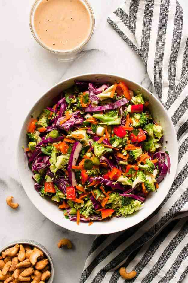 Chopped Thai Broccoli Salad with Thai Cashew Dressing | #whole30 #septemberwhole30 #choppedsalad #broccolisalad #healthy #recipes #dressing | hungrybynature.com
