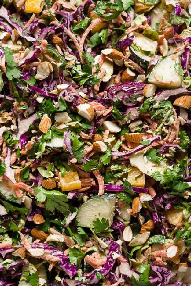 close up of chopped thai brussels sprout salad