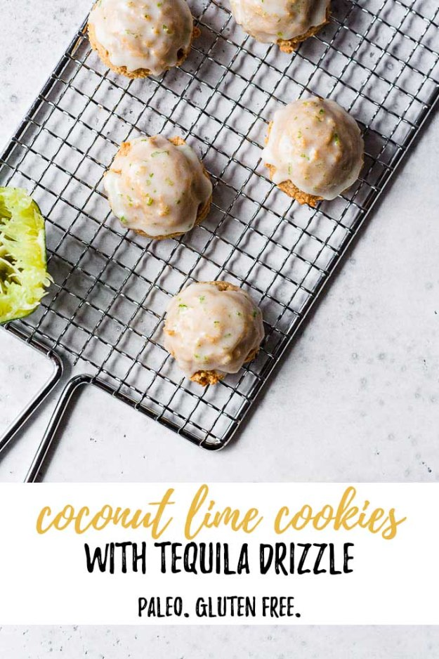overhead shot of coconut lime cookies with tequila drizzle on a drying rack