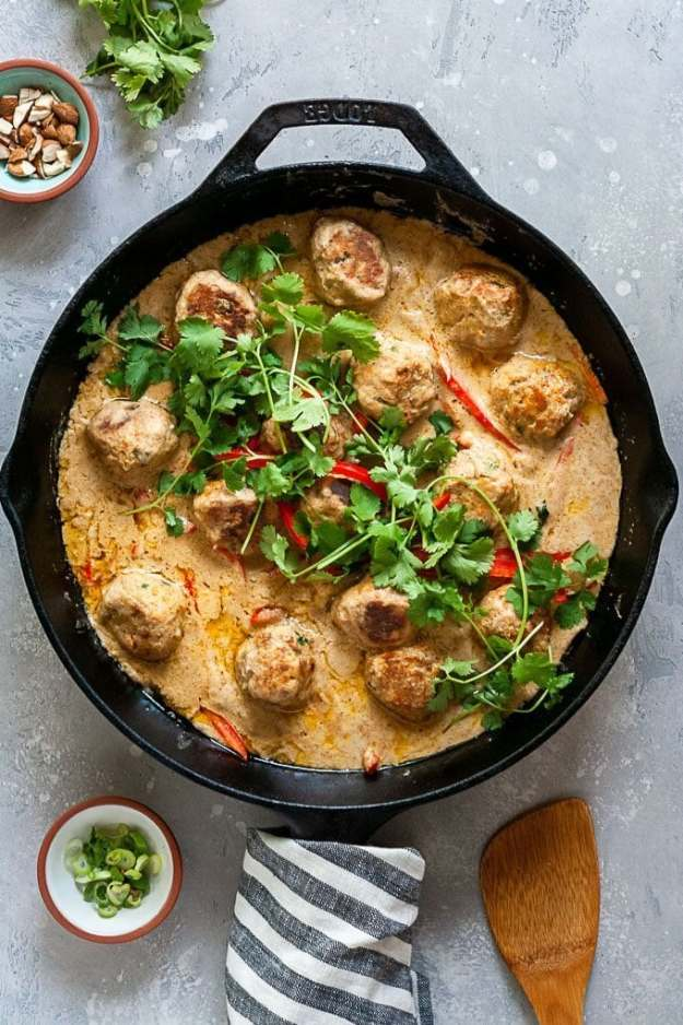 One Pan Coconut Curry Pork Meatballs in pan