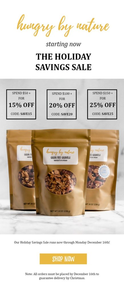 hungry by nature grain free granola holiday sale with text overlay