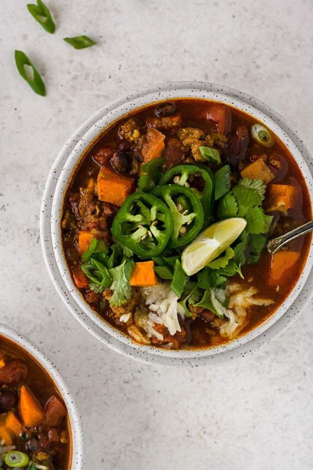 overhead shot of slow cooker turkey chili in bowl