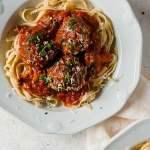 overhead shot of Italian Meatballs with pasta in marinara sauce