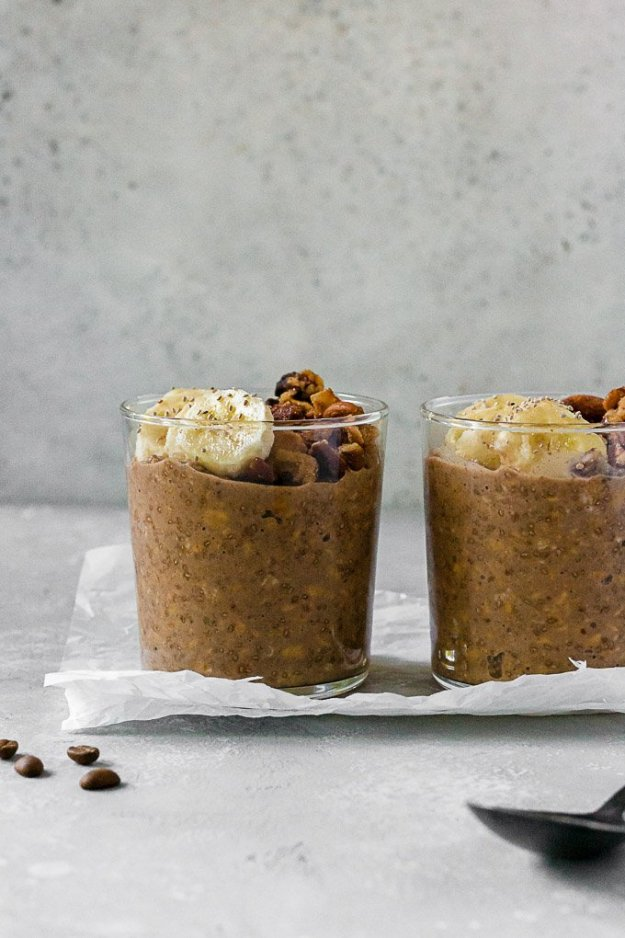 espresso overnight oats with banana slices in glasses