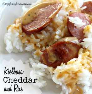 This Kielbasa, Cheddar and Rice dinner is a favorite of my family's and a favorite of mine to pull together quickly.