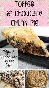 Take a giant cookie and stuff it into a pie crust... and this Toffee & Chocolate Chunk Pie is what you get. It is rich and delicious!