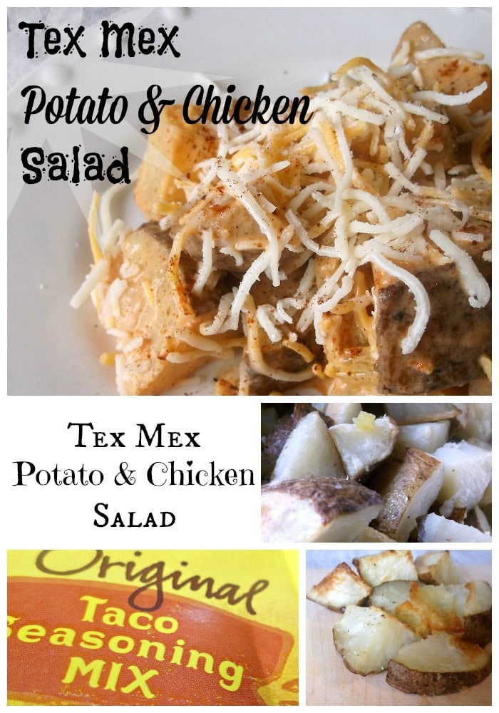 In this Tex Mex Potato & Chicken Salad roasted potatoes are tossed with shredded chicken, taco seasoning, chiles and cheese.
