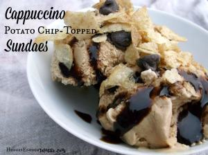 I whipped up two Cappuccino Potato Chip-Topped Sundaes using the Cappuccino chips and coffee ice cream: one with chocolate sauce and chocolate chips, and the other with caramel sauce and a sprinkle of sea salt.