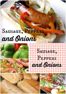 Not Going To The Fair.Sausage Peppers and Onions at Home|HungryEnoughToEatSix.com