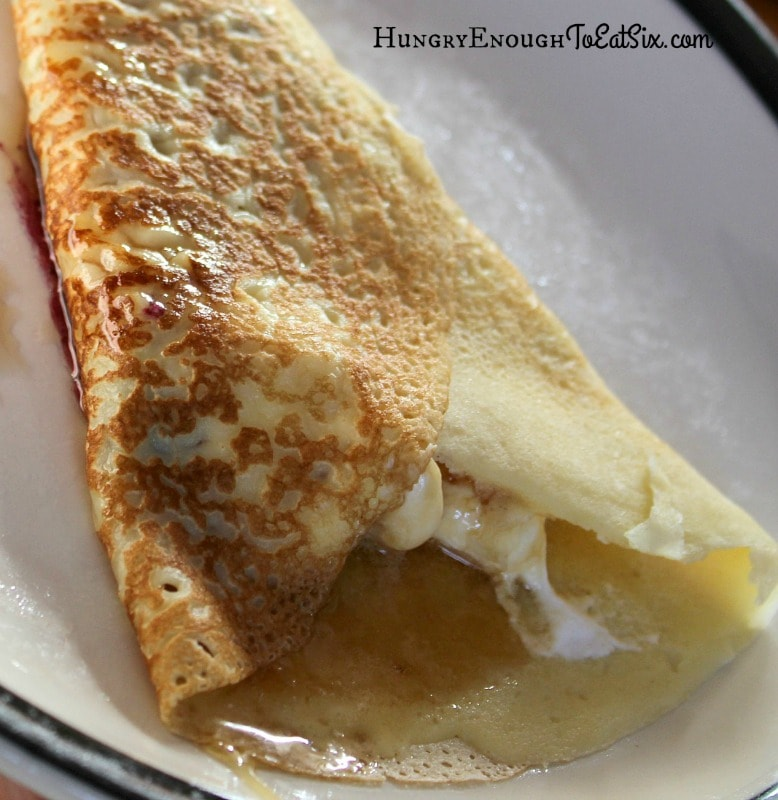 Crêpes, and two fruit sauces: Blueberry, and Simmered Apples with Cinnamon & Cardamom