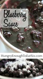 This Blueberry Sauce is a thick and sweet sauce, a delicious accompaniment to breakfast dishes like pancakes, muffins and crêpes.