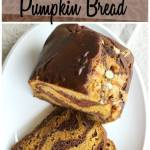 Pumpkin bread gets a new twist! Each slice has stripes of chocolate and pumpkin bread, and white chocolate chips to sweeten it up.